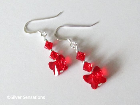 Glowing Red Swarovski Butterfly Crystals & Sterling Silver Earrings